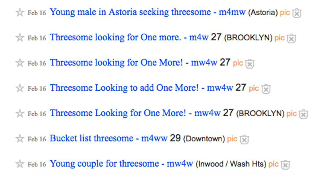craigslist website for threesome